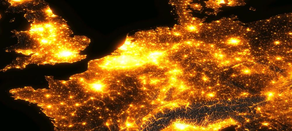 header carte de pollution lumineuse Europe